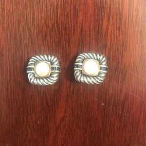 David Yurman Pearl & Sapphire Clip On Earrings